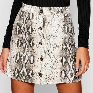 Button through snake print A-line mini skirt
